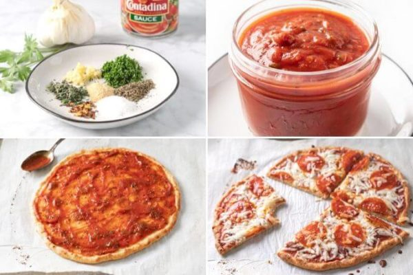 keto pizza sauce collage: ingredients, keto sauce in a jar, pizza sauce on a keto pizza crust, keto pizza