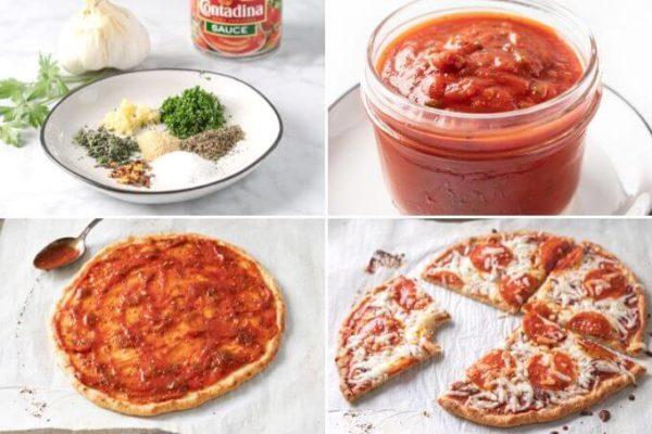 keto pizza sauce collage: ingredients, keto sauce in a jar, pizza sauce on a keto pizza crust, keto pizza