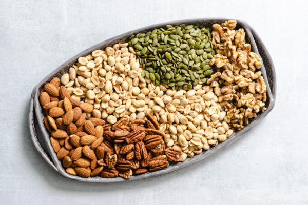 keto friendly mixed nuts: almonds, pecans, peanuts, pumpkin seeds and walnuts