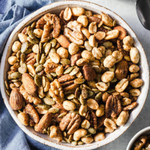 Keto nut snack mix with assorted nuts in serving bowl