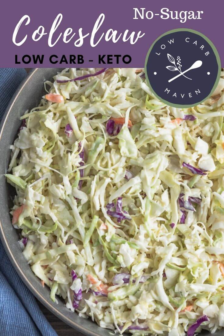 This easy keto coleslaw recipe is cool and creamy. The sugar free coleslaw dressing has a touch of sesame oil which adds a sweet-smoky flavor. Take this low carb side salad to barbeque, picnics, and pot lucks.