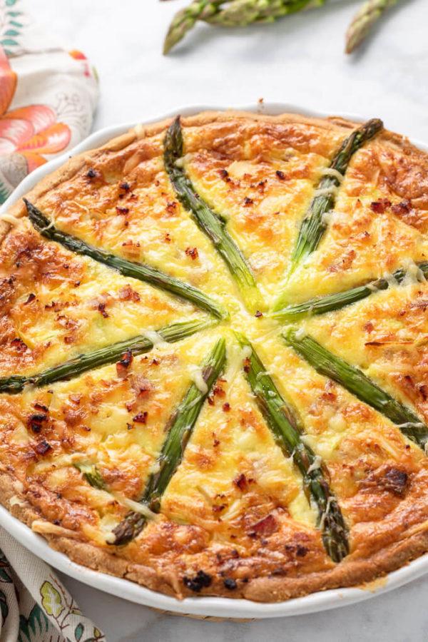 Keto Ham and Asparagus Quiche