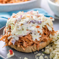 low carb shredded bbq chicken and coleslaw on a roll