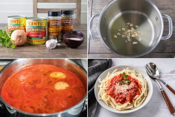 4 photos: keto tomato sauce ingredients, pot with olive oil and sliced garlic, sauce cooking in a pot on the stove and keto tomato sauce on low carb pasta.