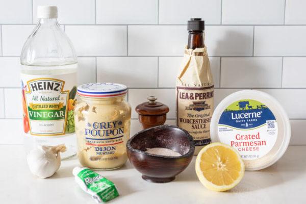 Ingredients for keto Caesar Salad Dressing