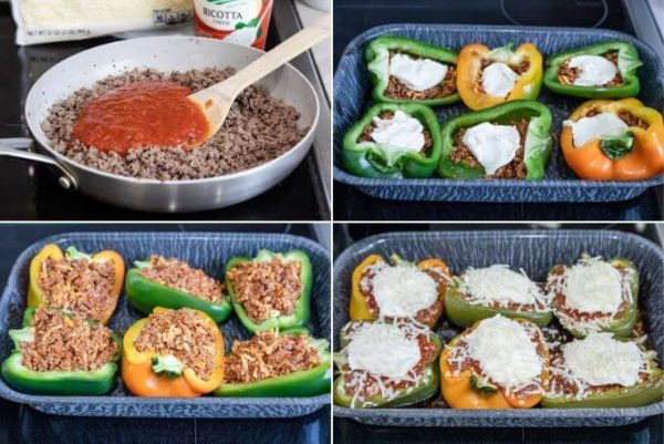 How to make lasagna stuffed peppers composite: add sauce to ground beef, layer ground beef, ricotta and ground beef again, top with mozzarella cheese