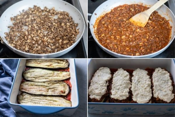 some steps of vegetarian keto lasagna: cooked mushrooms in a pan, sauce added to mushrooms, eggplant layered in dish, ingredients layered on the eggplant slices