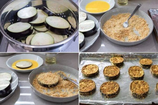 steps for breading keto eggplant parmesan: 1. salted eggplant rounds in a colander, 2. eggplant rounds, beaten egg and crumb mixture, 3. eggplant in beaten egg and in crumb mixture, 4. breaded eggplant rounds on a foil lined sheet pan.